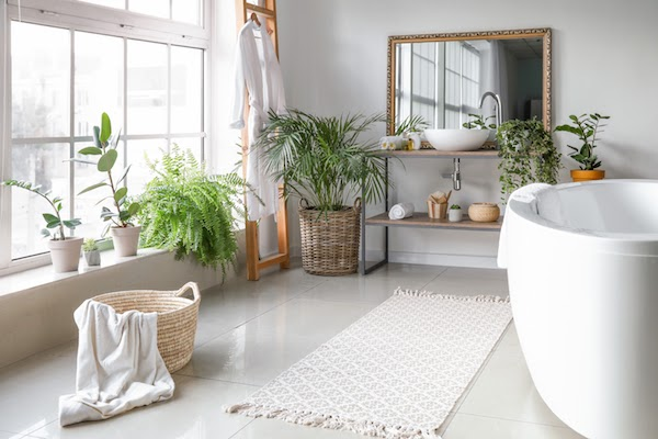 bathroom with plants