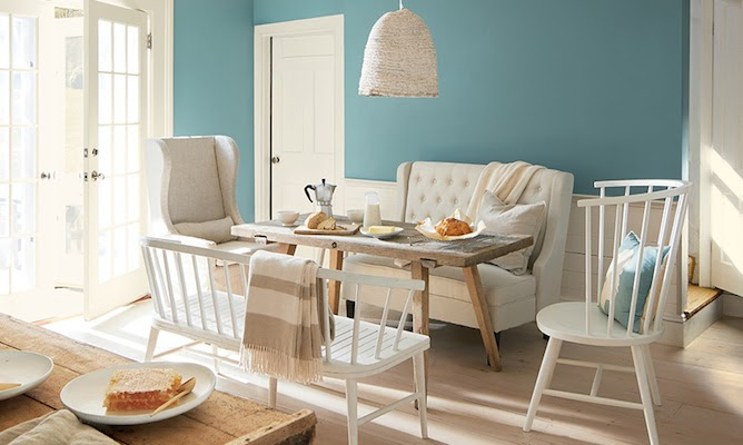 aegean teal painted on dining room walls