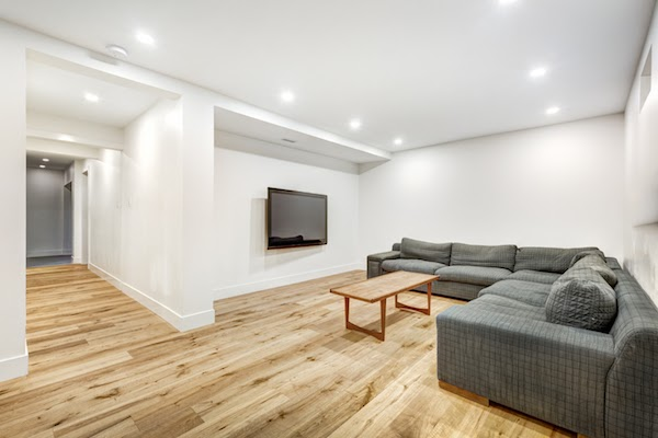 bright basement with potlights