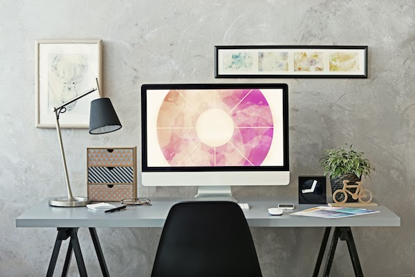 work from home desk with lighting