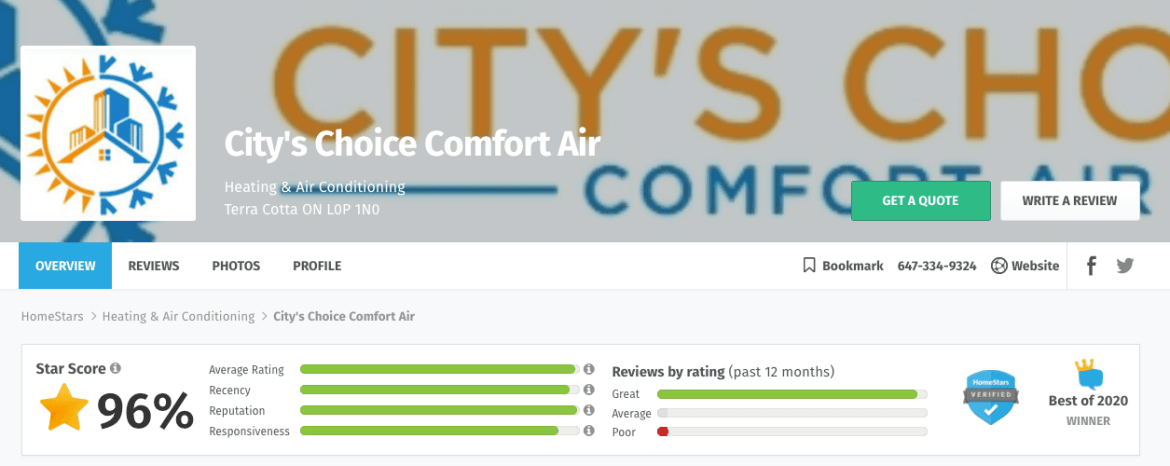 city's choice comfort air profile on homestars
