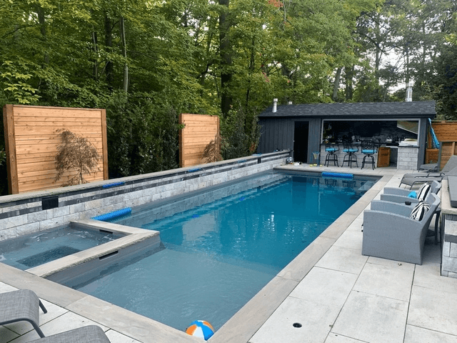 backyard swimming pool and landscaping