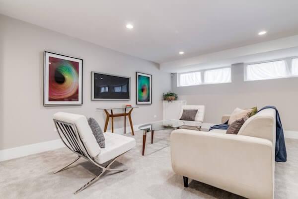 interior basement with carpet flooring