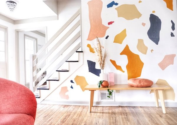 terrazzo inspired wall mural with paint