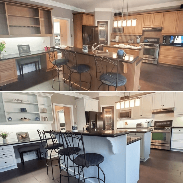 kitchen before and after refinishing