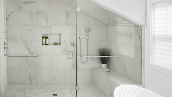 Marble bathroom with natural light