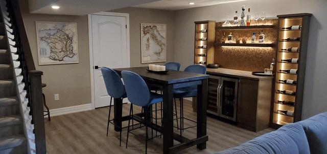 basement renovation lounge area