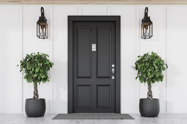 black front door with plants and lights