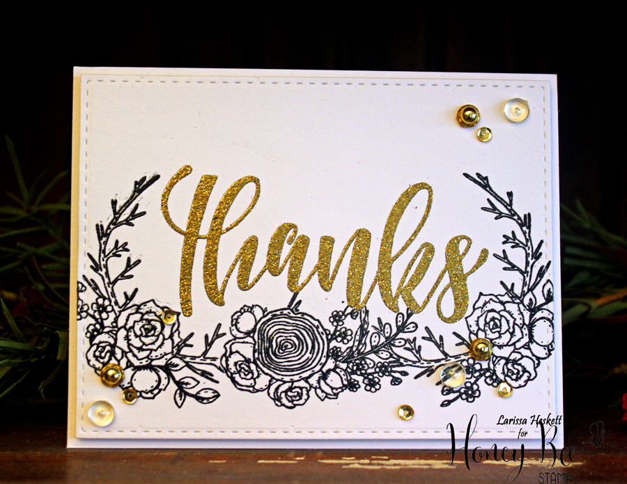 Gold Glitter Embossed Thanks Card!!