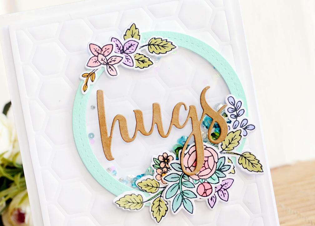 Hugs shaker card