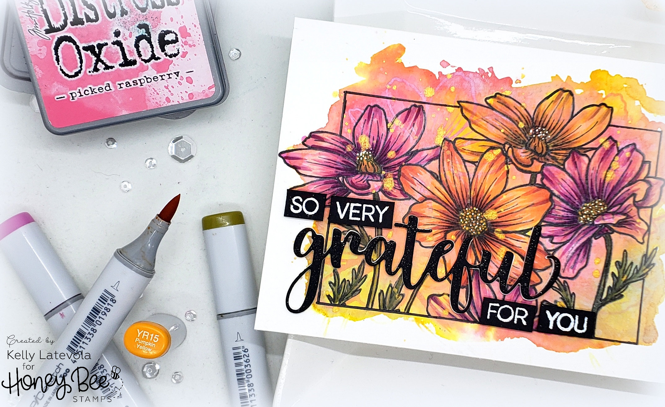 Watercolor Stamping Distress Oxides with Kelly Latevola