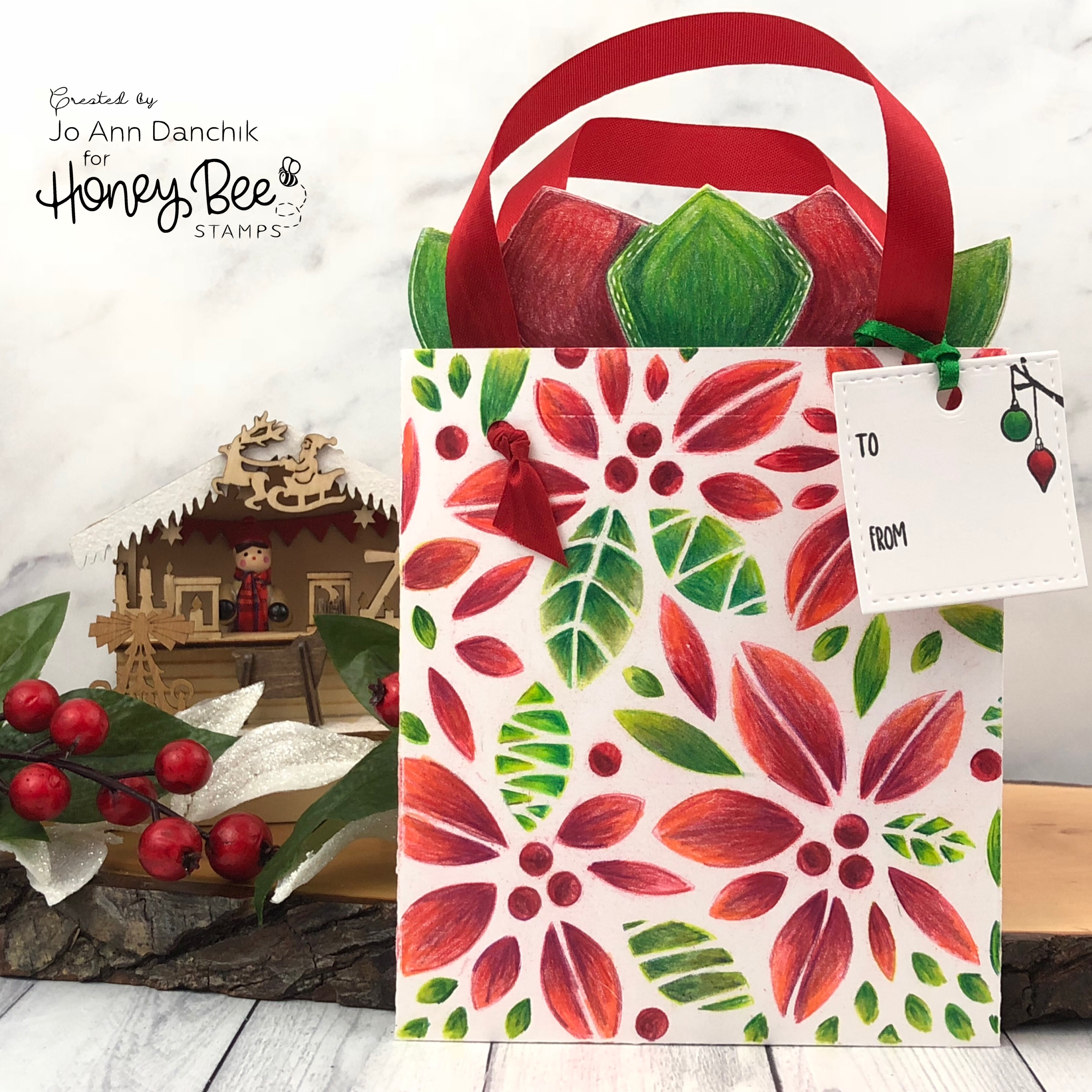 Creative Sundays With Jo Ann: Poinsettia Gift Bag