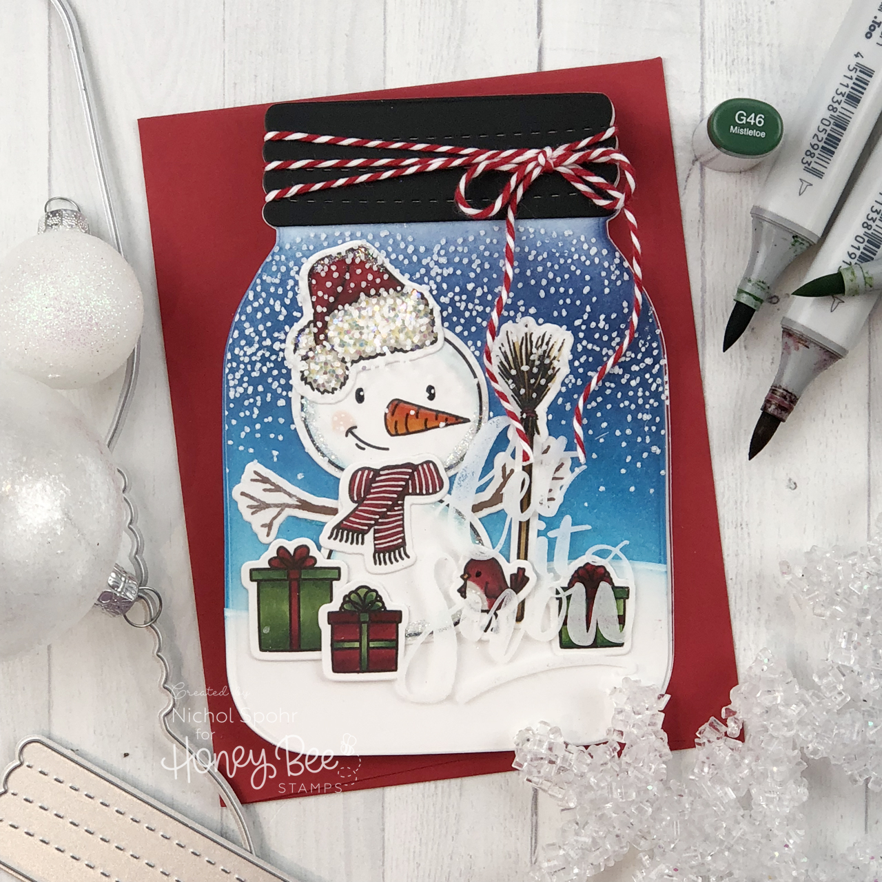 Snow Buddies Mason Jar Shaped Card