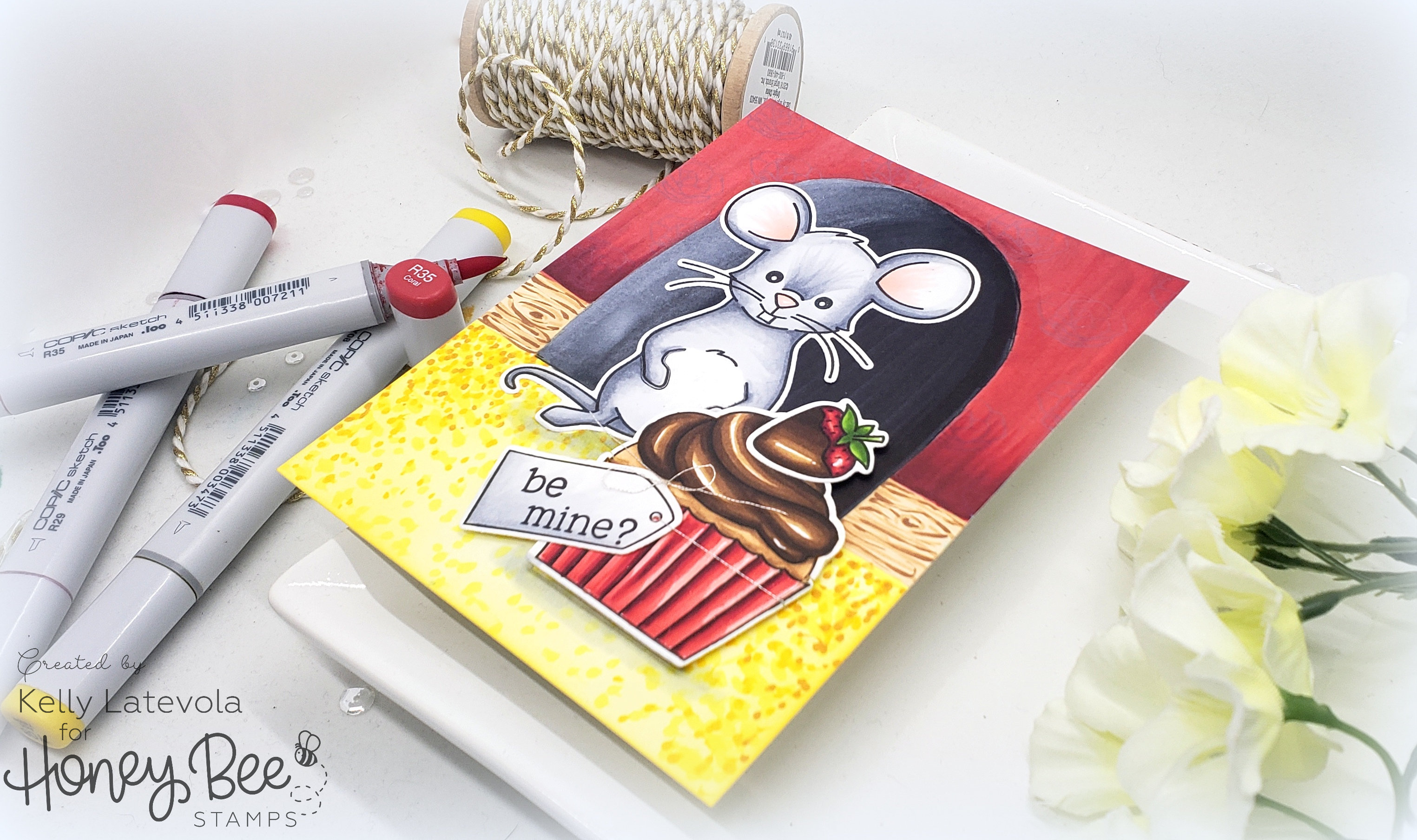 Be Mine? Copic Coloring Scene Card with Kelly Latevola