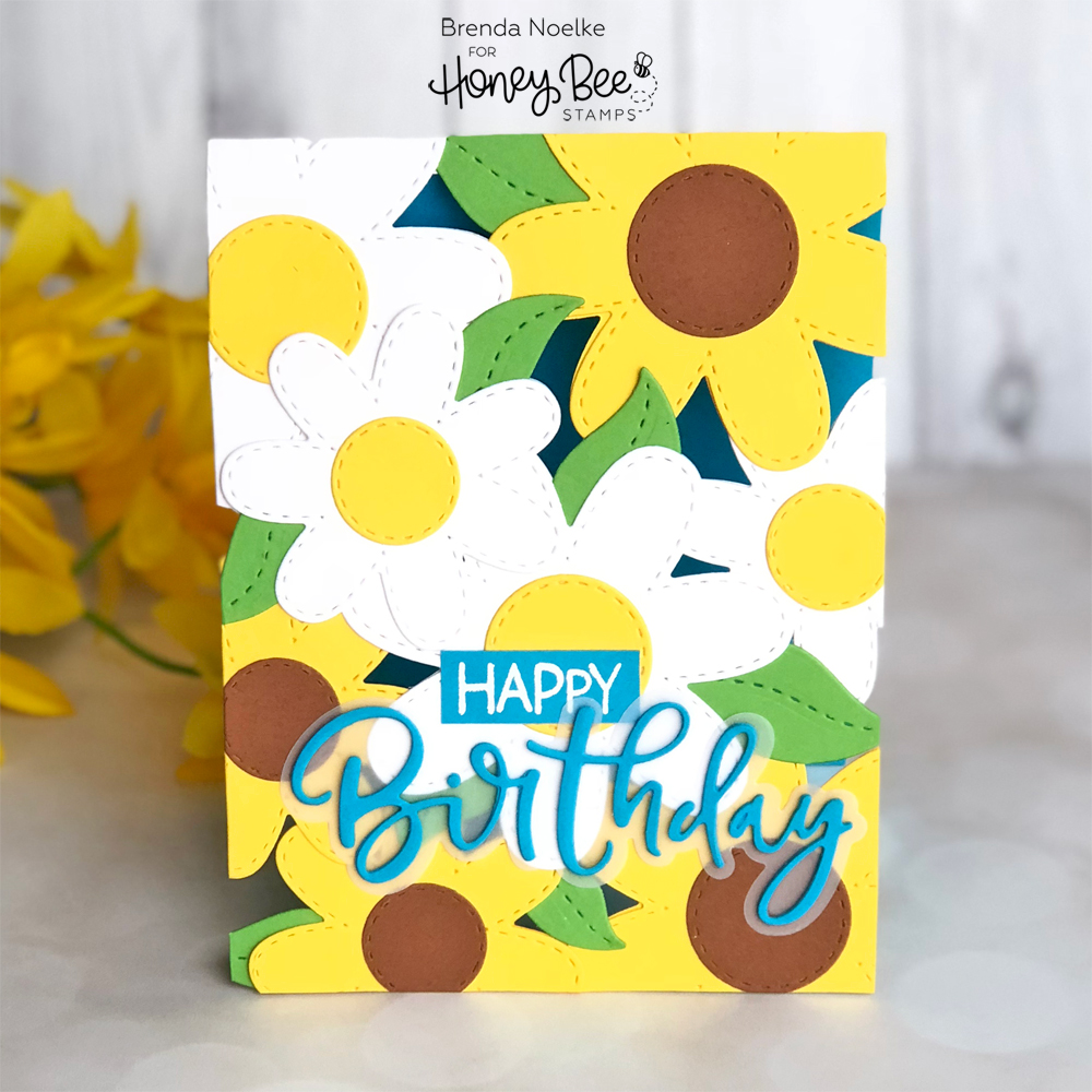 Happy Birthday See-Through Stitched Flowers Card