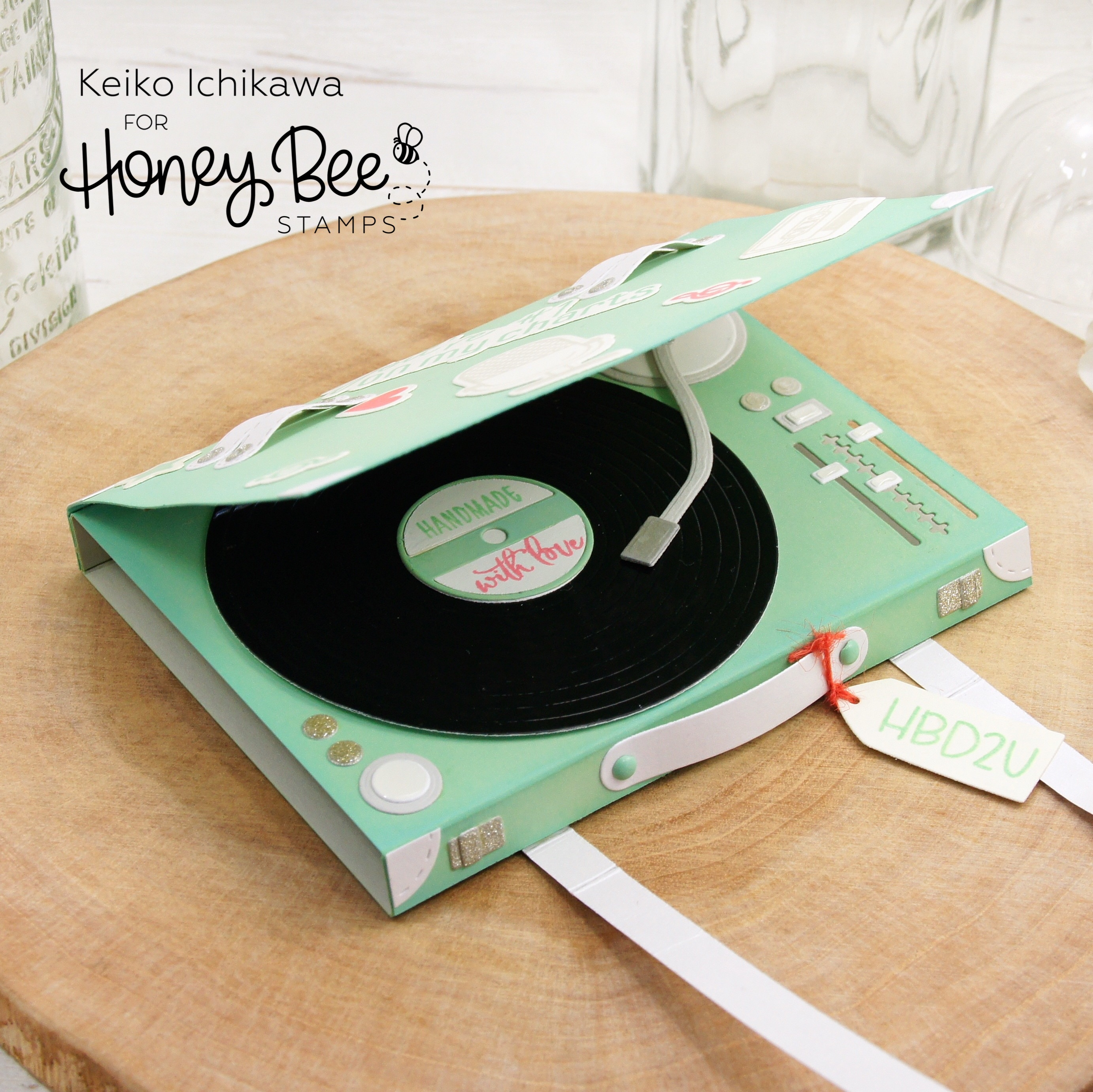 3D Record Player Birthday Card