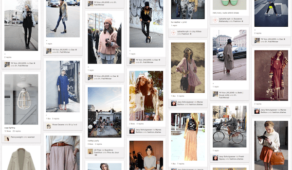 Pinterest Screenshot. DIY online pin-board of ideas, content and inspiration.