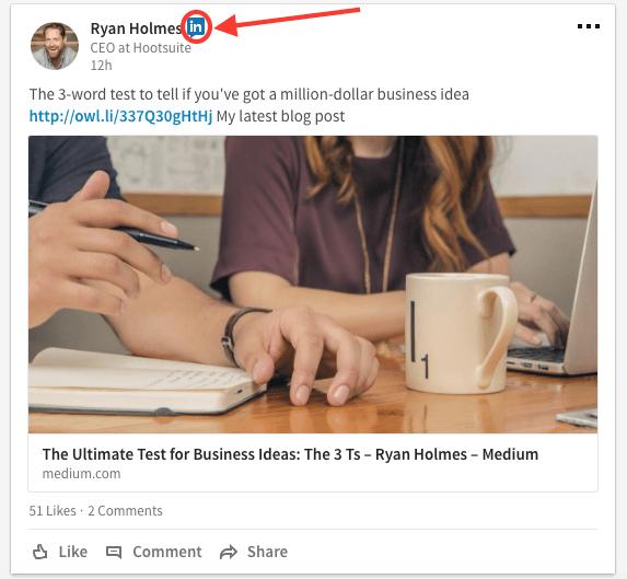 Post by Ryan Holmes highlighting LinkedIn Influencer icon