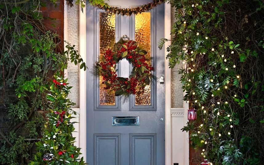 Holly Wreath on Front Door