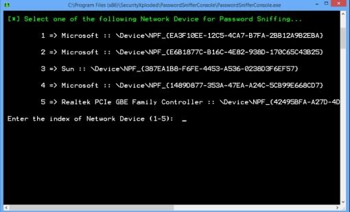 Password Sniffer Console robar datos