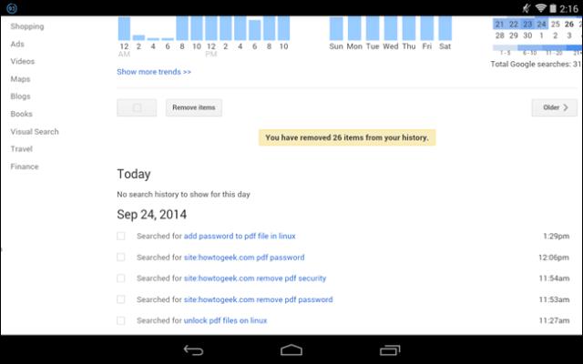 eliminar busquedas de google en android