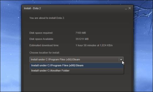 escoger biblioteca instalar juego steam