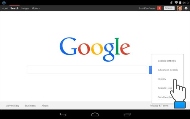 opciones historial menu android