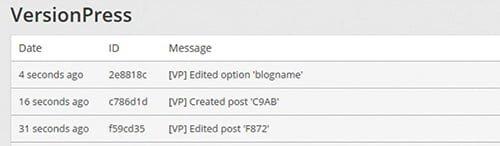 registro de modificaciones con versionPress