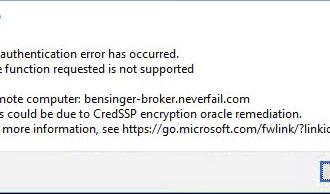 Remote desktop connection error after update windows 2018/05/08 – CredSSP updates for CVE-2018-0886