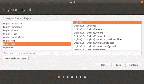 Select the language the ubuntu installation is to be conducted in.