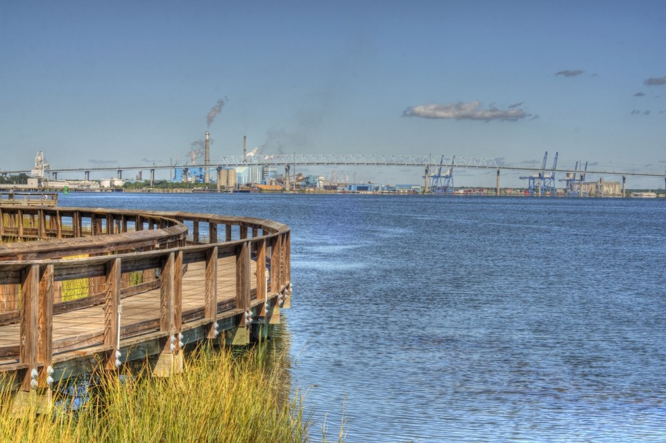 View of Industry from Riverfront Park in North Charleston SC in HDR Style.