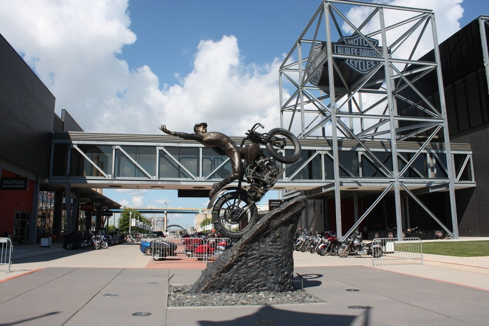 Outside of the Harley Davidson Museum in Milwaukee