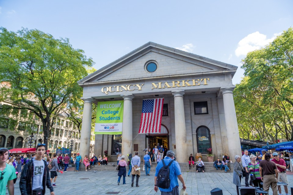 Quincy Market is an historic marketplace near Faneuil Hall in downtown Boston. Besides the main iconic building, there is also a North and South market.