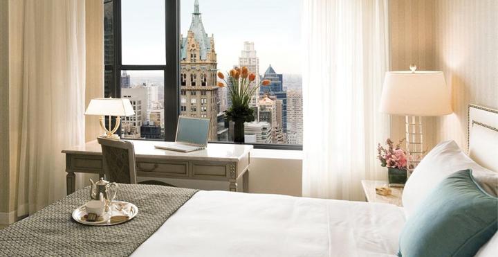 Hotel room overlooking city
