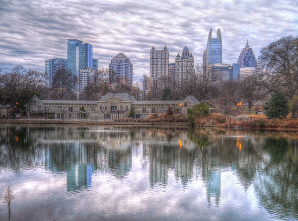 The Atlanta skyline with Lake Clara's reflection in Piedmont Park