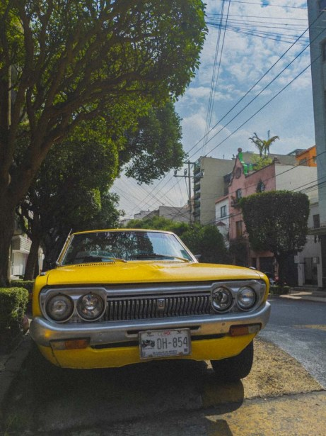 A bright, yellow, classic Datsun car sits on a tree-lined street.