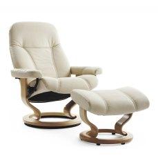 Stressless Medium Consul Recliner Chair & Footstool in Cream