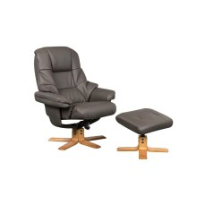 Ashby Charcoal Swivel Recliner Chair & Stool