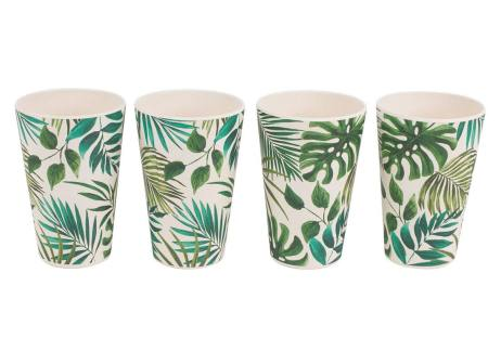 Polynesia Set of 4 Picnic Cups in Bamboo