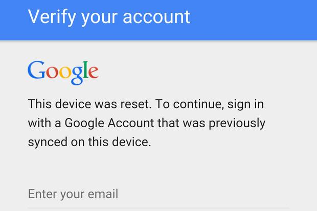 Verify your account Google This device was reset' To continue, Sign in with a Google Account that was previously synced on this device. Enter your emai