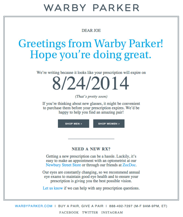 Email marketing campaign example by Warby Parker notifying user of product renewal
