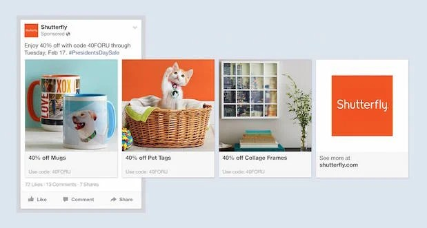 Facebook multi-product ad by Shutterfly