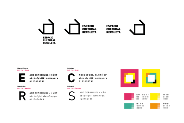 Brand style guide for Espacio Cultural with four typefaces and vibrant color palette
