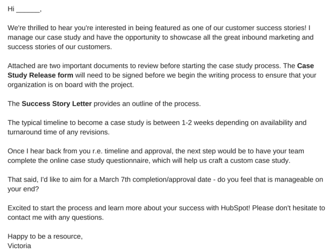 Case study permission email template for sending to a client or subject