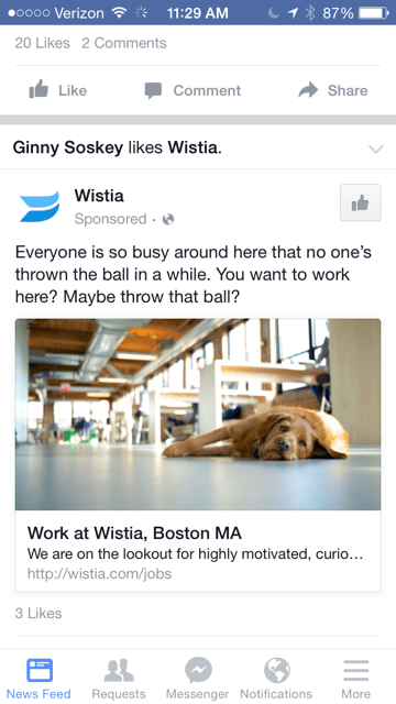 Facebook ad with single image on mobile news feed