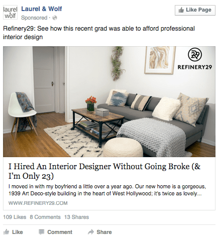 Facebook Ad with single image on a desktop news feed