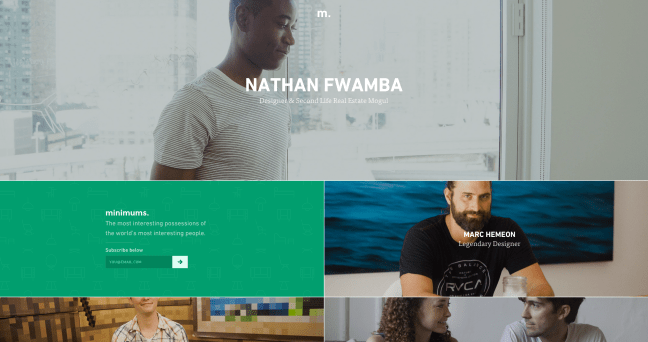 Homepage of Minimums, a website with a cool design