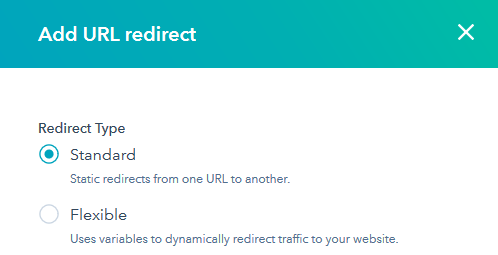 the redirect type menu for adding a 301 redirect in hubspot