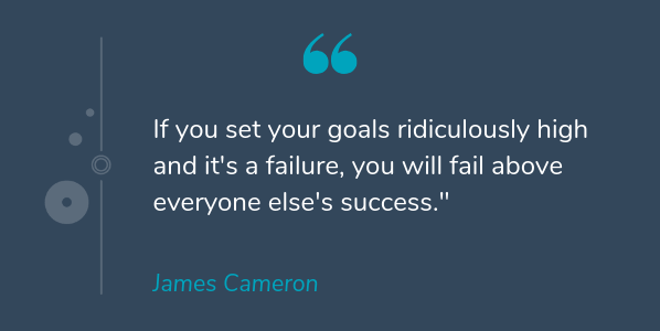 James Cameron famous quote about success that says If you set your goals ridiculously high and it's a failure, you will fail above everyone else's success