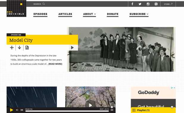 the homepage for the 99 percent invisible wordpress website